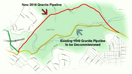 Known as the Granite Pipeline, the underground transmission line carries natural gas to Baltimore City. Here are the locations of the new pipeline, opened this spring, and the original pipeline in Leakin Park. (BGE)