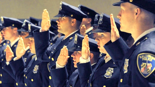 Police cadets in Baltimore at their swearing-in ceremony. (Baltimore Police Department)