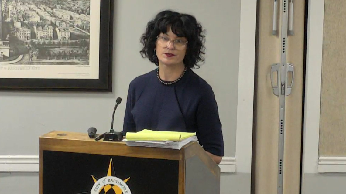 The community voted to oppose the townhouse project, Millrace Condominium resident Jessica Meyer testifies. (livestream.cmo)