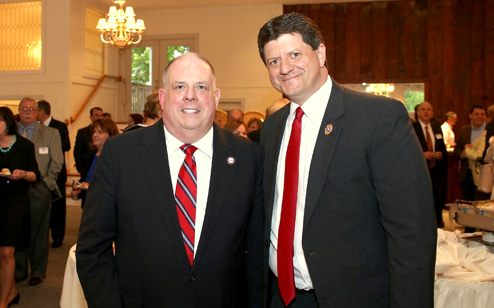 Larry Hogan and Brian DeLeonardo meet at a fundraiser a few months before they won their current elected jobs – as governor and as Carroll County state's attorney – in the 2014 general election. (votedeleonardo.com)