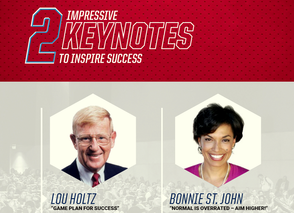 Keynote speakers at the AB Show this week will be former Notre Dame football coach Lou Holtz and former paralympic skiier Bonnie St. John. (AB Show 2019)