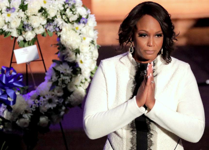 Maya Rockeymoore Cummings speaks at the same funeral services. (AP)