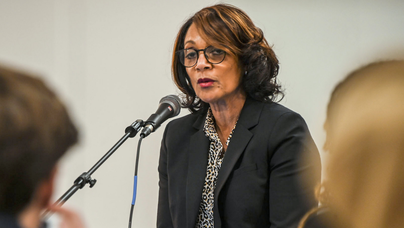 Sheila Dixon moderated a debate among three 14th District city council candidates. (J.M. Giordano)