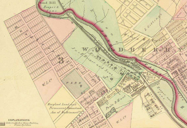 An 1876 map of Woodberry and (below) the proposed boundaries of the historic district. (Johns Hopkins University Library and CHAP)