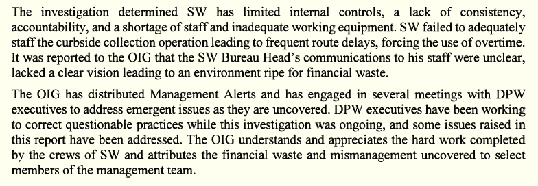 Excerpt from OIG report on Solid Waste Bureau