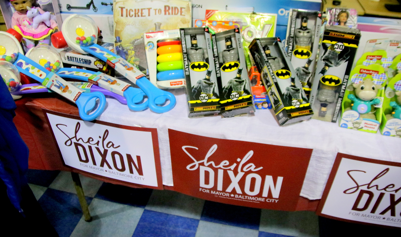 Toys to be given away to area children, donated by supporters at Sheila Dixon's campaign announcement. (Fern Shen)