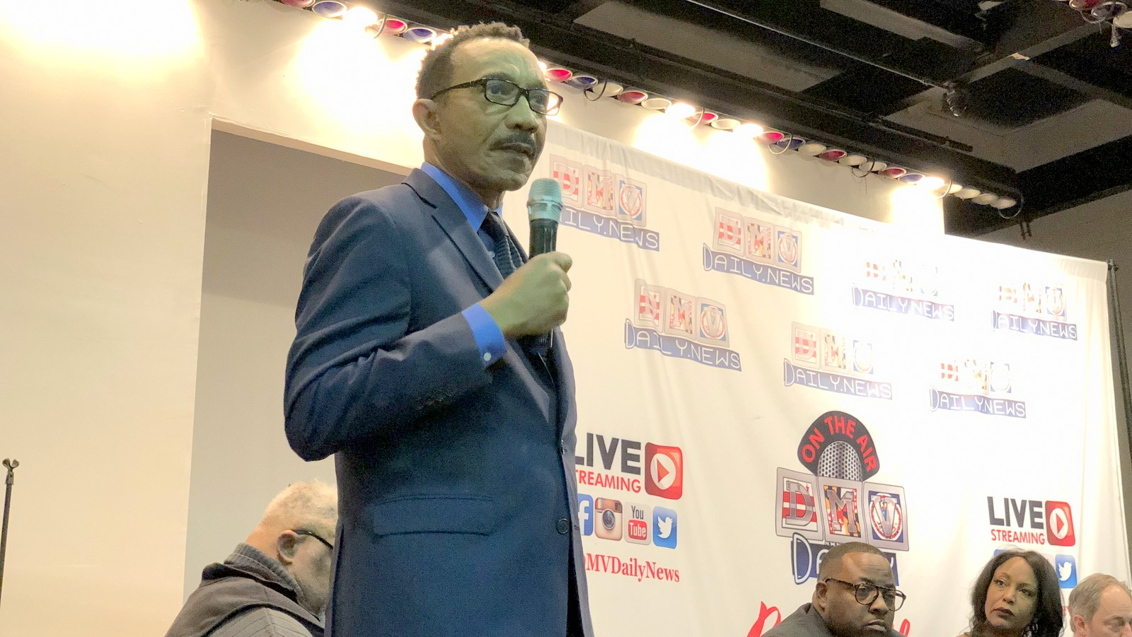 Kweisi Mfume speaks at a debate for 7th District candidates. (Ian Round)
