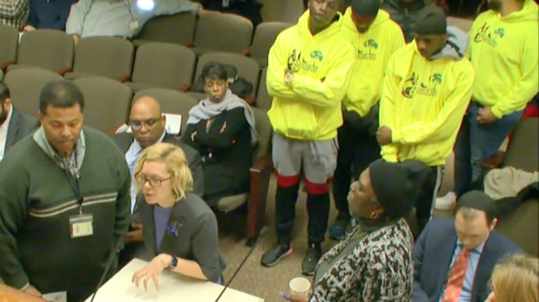 From left, Travis Minott (DPW), Erin Sher Smyth (Purchasing) and address the Board of Estimates as Kim Trueheart and her Bmore Clean and Green participants listen. (CharmTV)