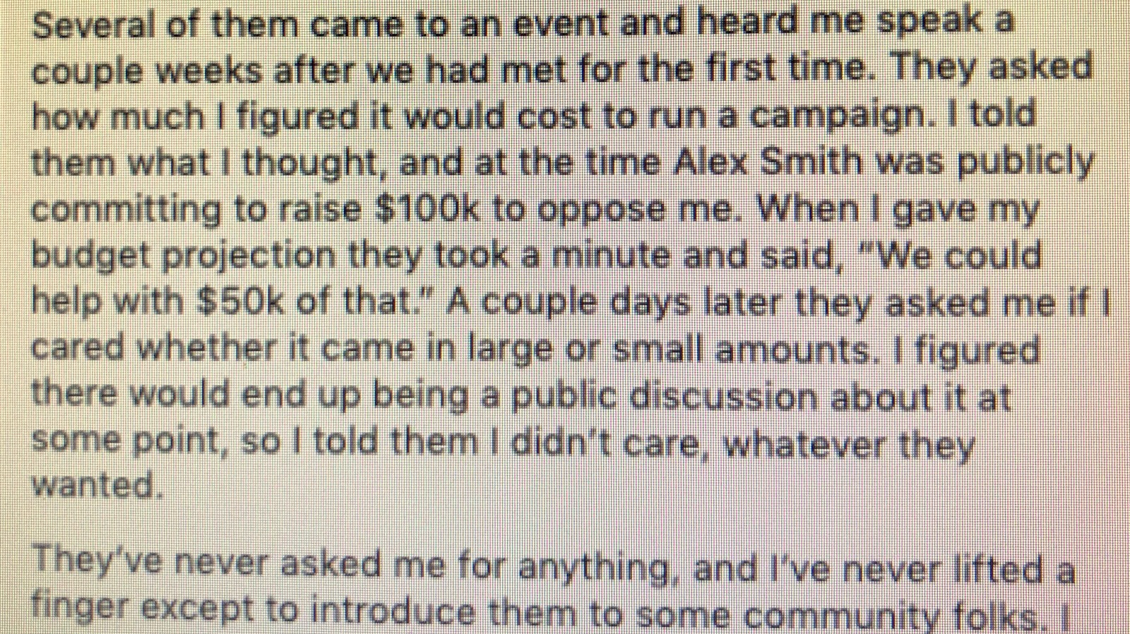 Ryan Dorsey Facebook comments about accepting $42,000 from people associated with CMDS, the company planning a drug treatment center in Hamilton.