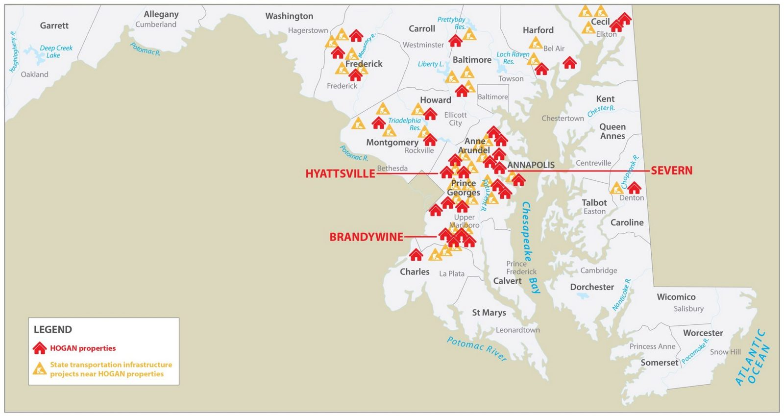A map of state infrastructure projects near HOGAN company properties. (Washington Monthly)