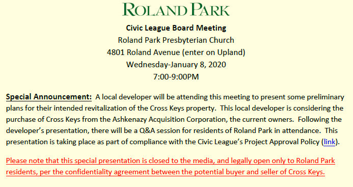 The Roland Park Civic League's initial announcement said Caves Valley's presentation at its monthly meeting was