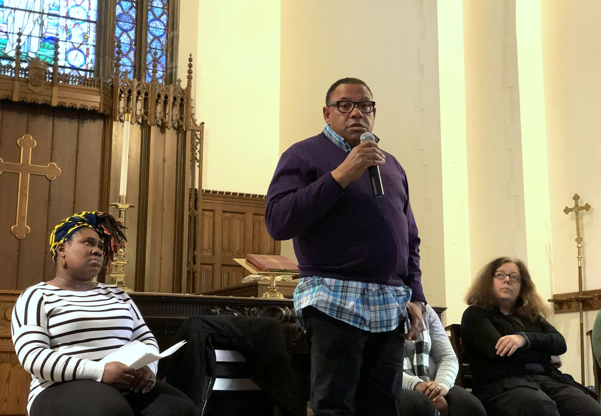 Bilal Ali, executive director of CMDS, speaks about the treatment center, flanked by Natasha Winston of the Hamilton Elementary/Middle School PTA and Angela Jancius, president of Westfield's community association. (Ian Round)