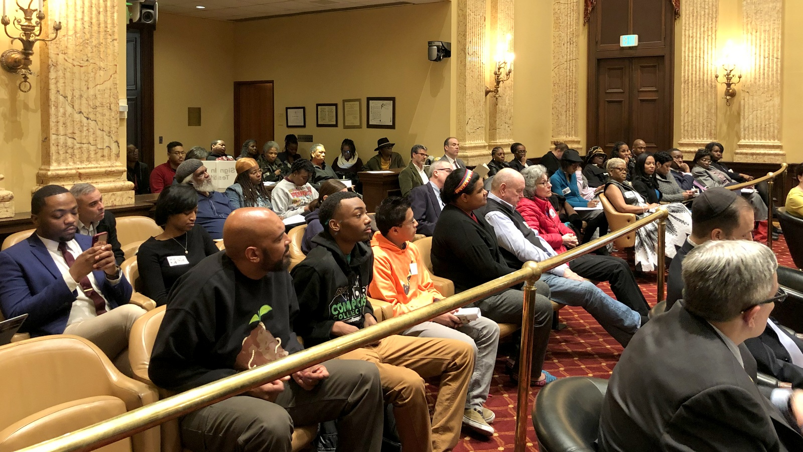 Packed City Council chambers for a hearing on the Children and Youth Fund. (Ian Round)