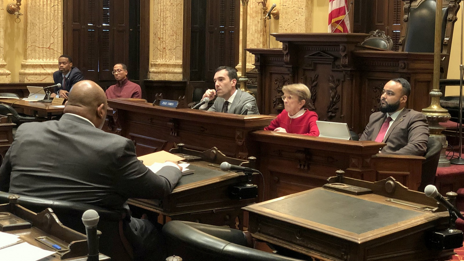 City Councilman Zeke Cohen chairs a hearinng on Baltimore's Children and Youth Fund. (Ian Round)