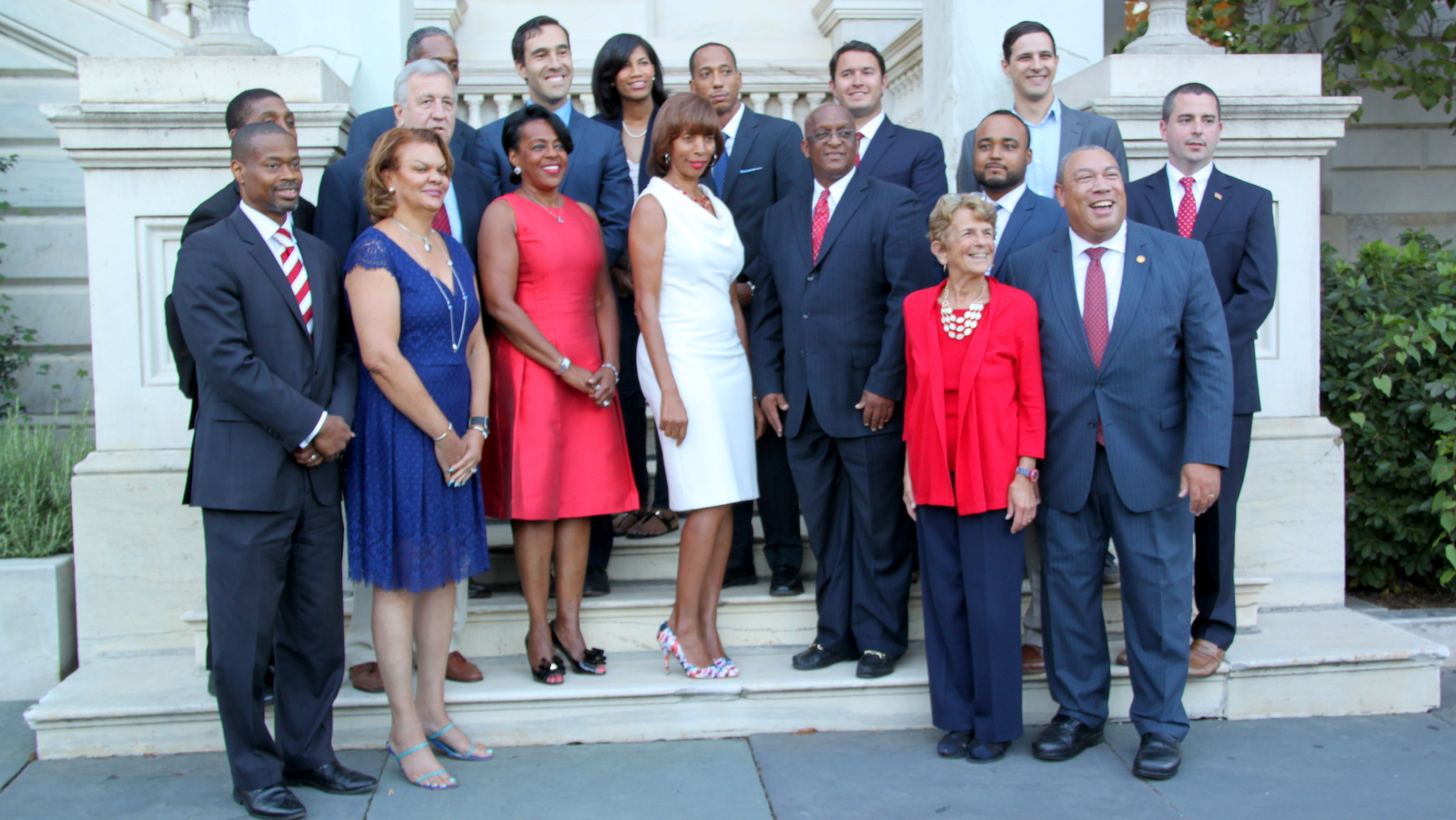 Joan Pratt and Catherine Pugh stand with fellow 2016 nominees outside City Hall in 2016, part of a