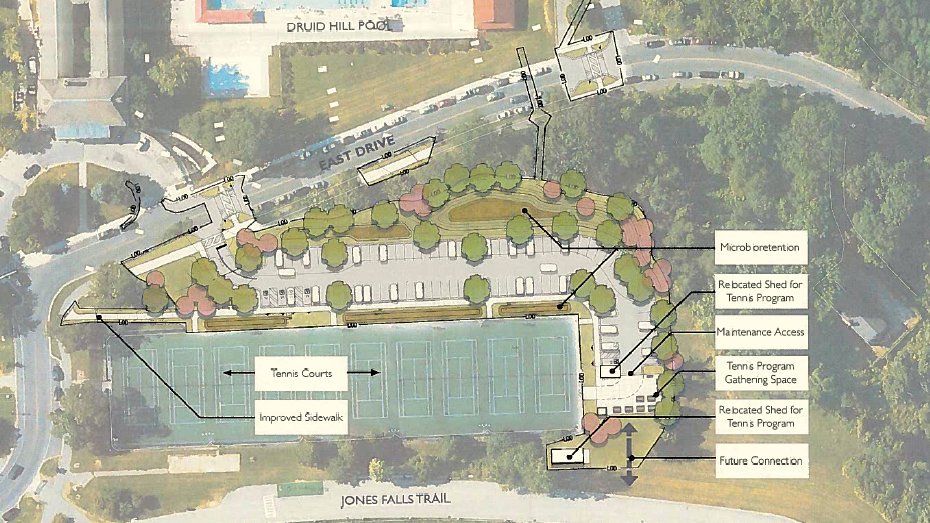 A new parking lot is part of the city's plan to overhaul the pool at Druid Hill Park. (Baltimore City Recreation and Parks)