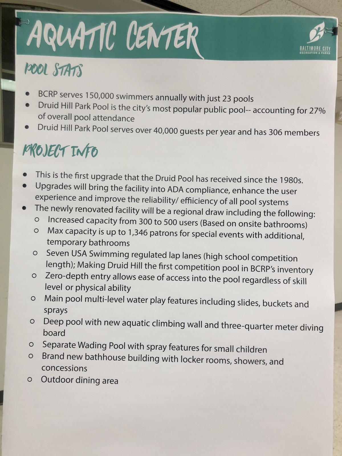 druid park aquatic center information