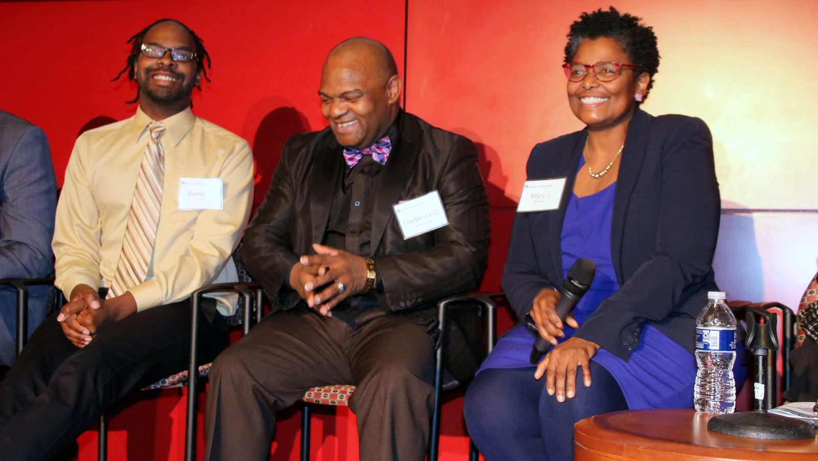 Dante Swinton, Frederick Ware Newsome and Sen. Mary Washington at a mayoral candidates event. (Fern Shen)