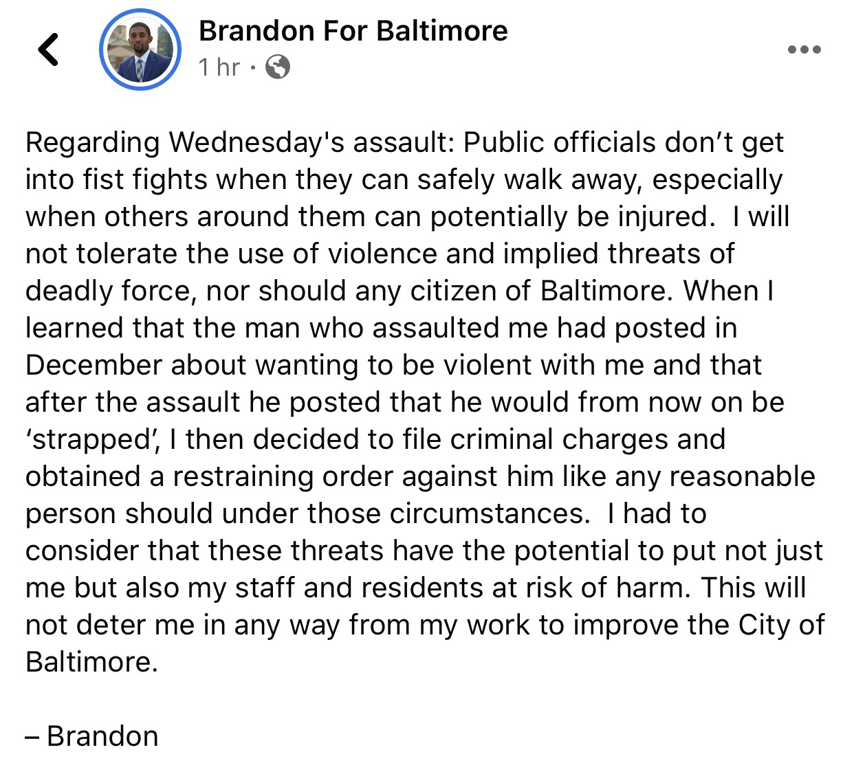Statement by City Council President Brandon Scott, released 2/8/20.