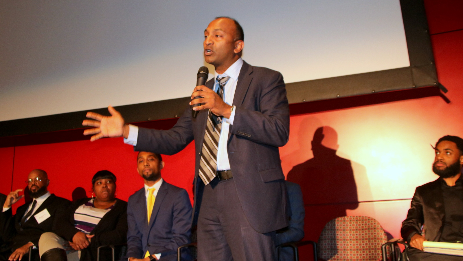 Thiru Vignarajah at a mayoral candidates' forum held at the Reginald F. Lewis Museum in Baltimore. (Fern Shen)