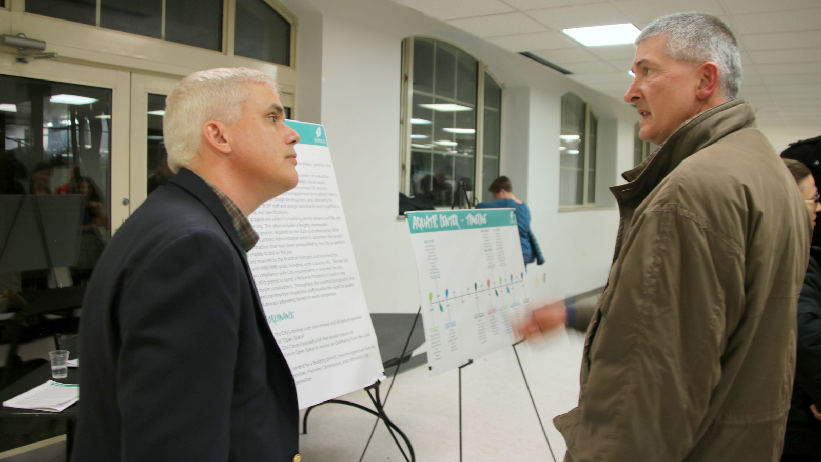 Druid Park Aquatic Center project manager answers questions at Recreation and Parks headquarters. (Fern Shen)