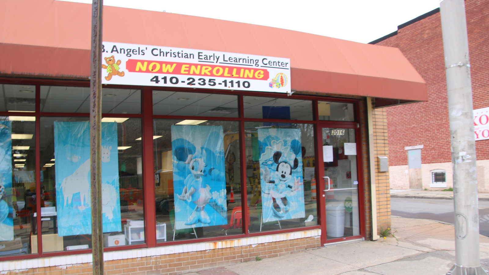 The owners of B. Angels Christian Early Learning Center on Gerenmount Avenue are hoping to open on Monday. (Fern Shen)