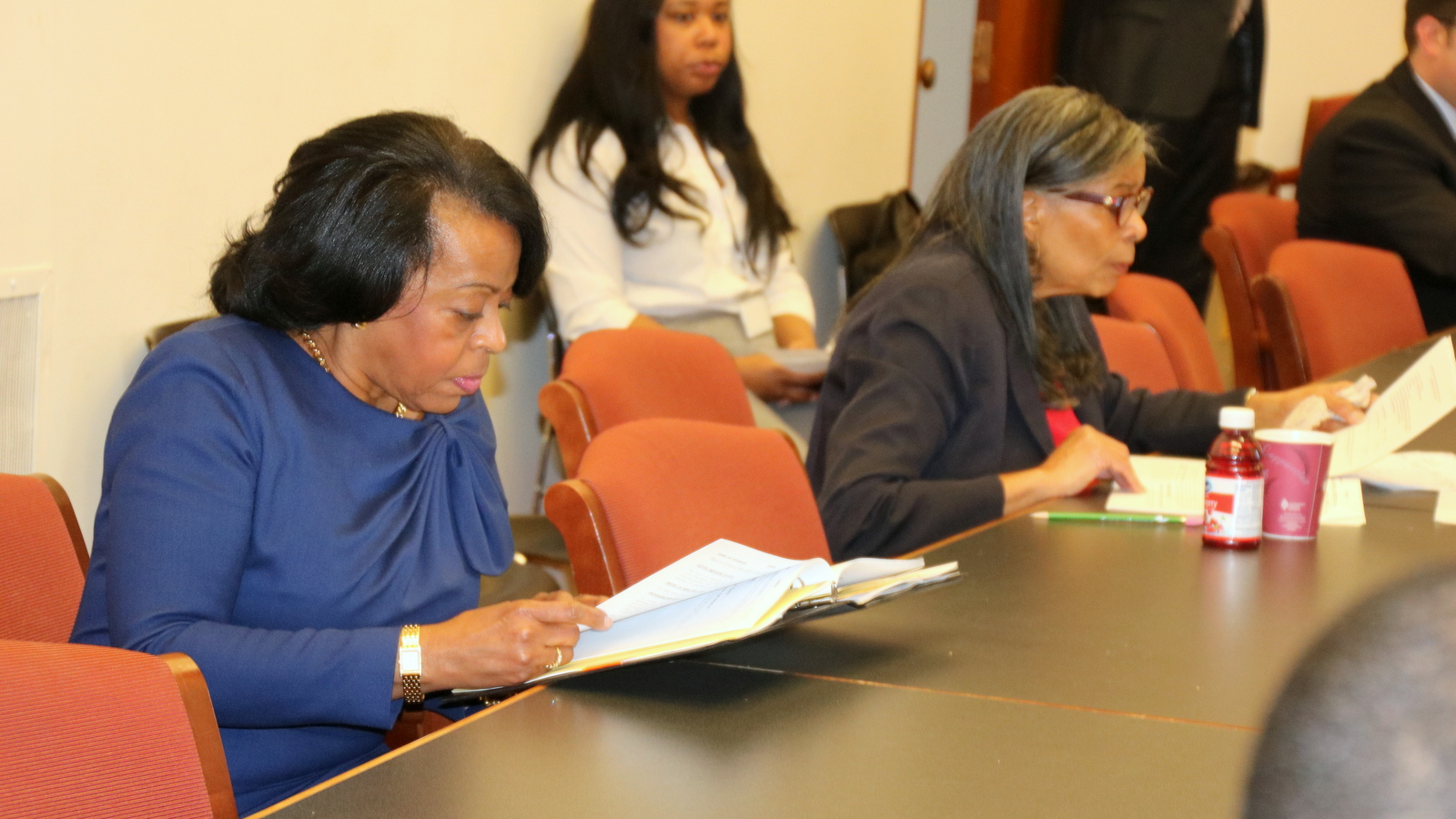 Comptroller Joan Pratt and her deputy Harriette Taylor review documents at the Board of Estimates pre-meeting. (Fern Shen)