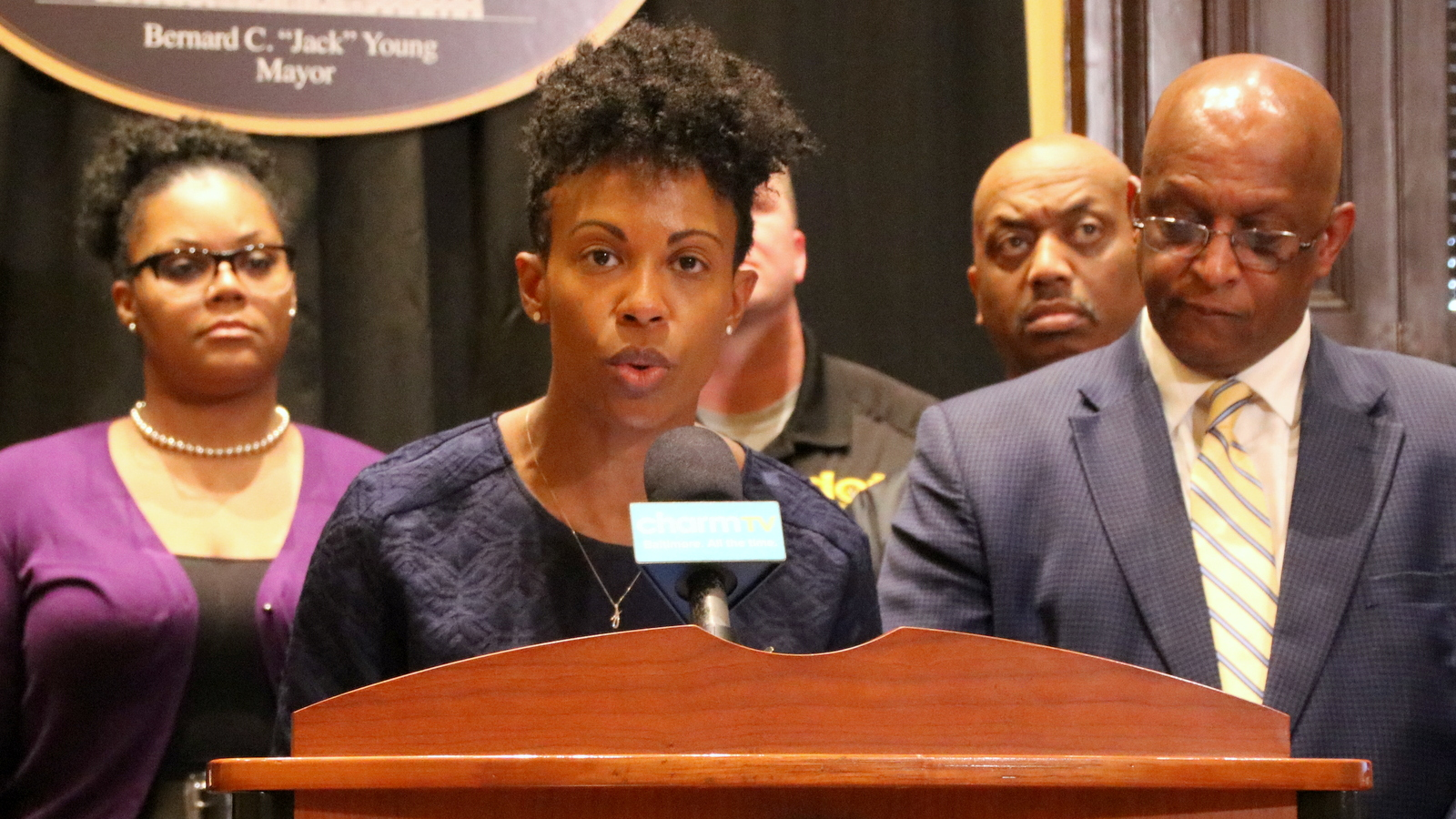 Health Commissioner Letitia Dzirasa discusses Baltimore's response to coronavirus, with Mayor Jack Young. (Fern Shen)