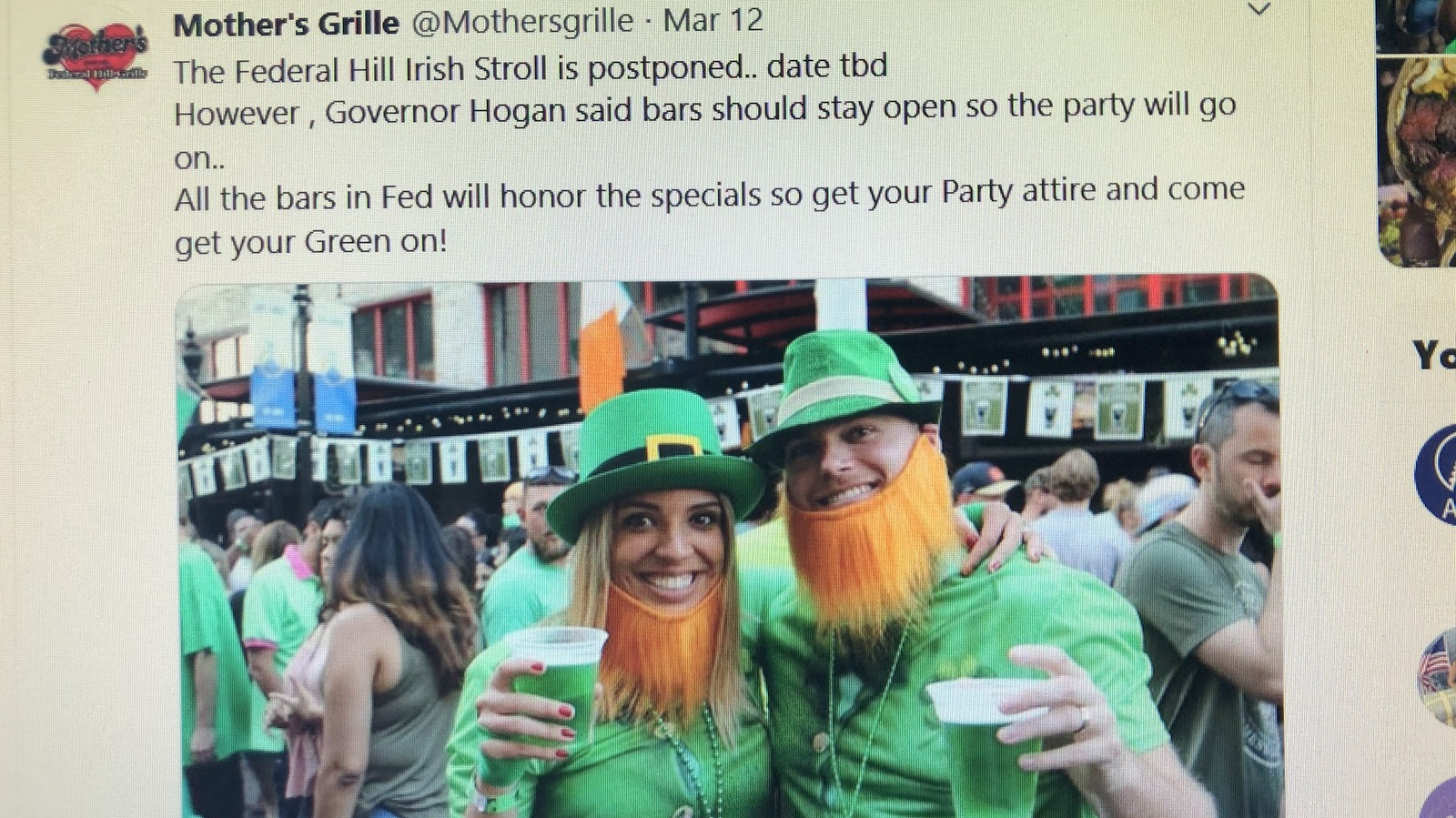 Mothers Federal Hill Grille urges customers to come drink on Saturday despite the Irish Stroll being officially canceled. (Facebook)