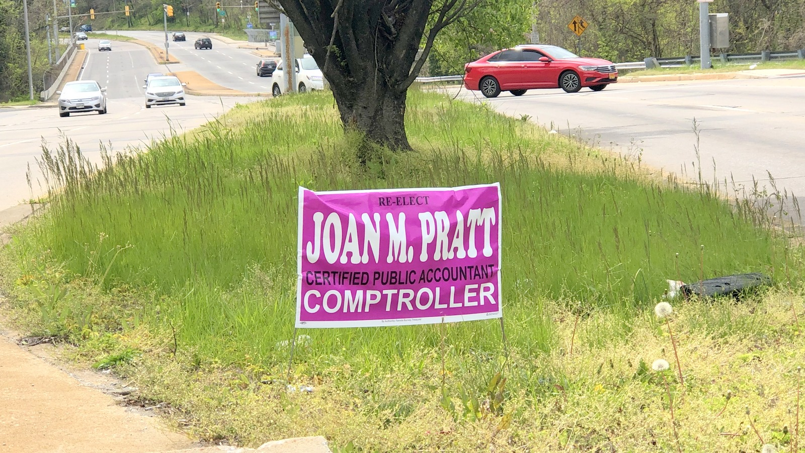 Campaign signs for Joan Pratt can be seen now along Northern Parkway, including this one posted illegally in the median. (Fern Shen)