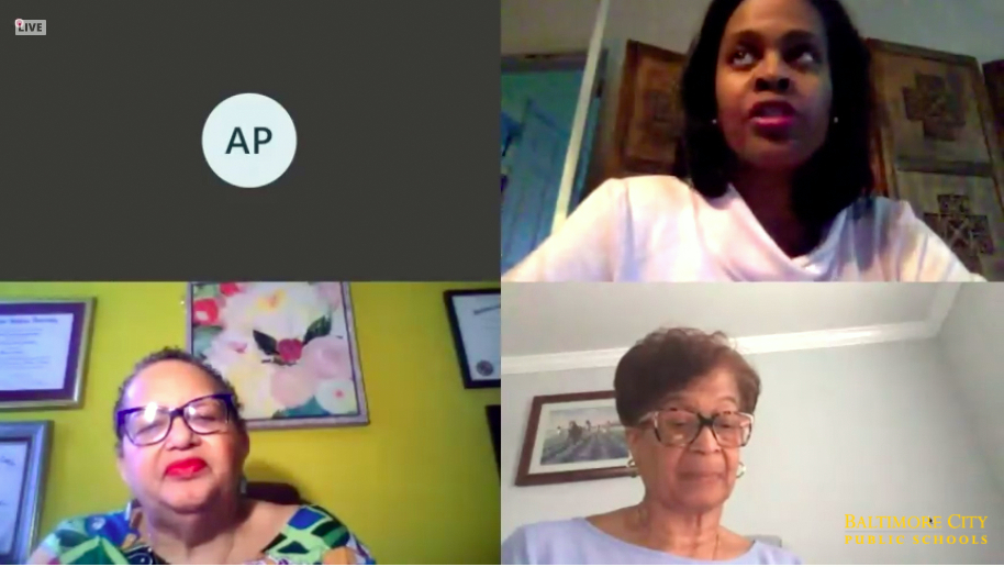 Among those participating in last night's virtual meeting (clockwise): Schools CEO Sonja Santelises, Board Chair Linda Chinnia and Commissioner Michelle Harris Bondima. (Comcast 77)