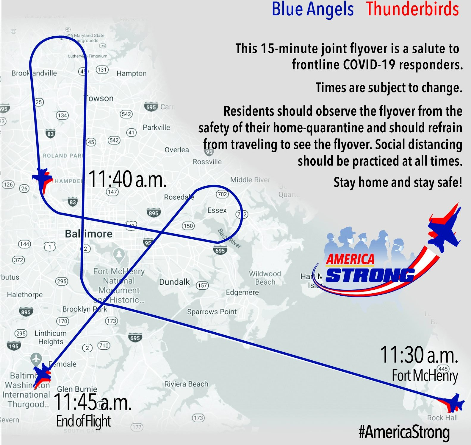 Path of the May 2 flyover of Baltimore by Navy and Air Force military jets. (@BlueAngels)