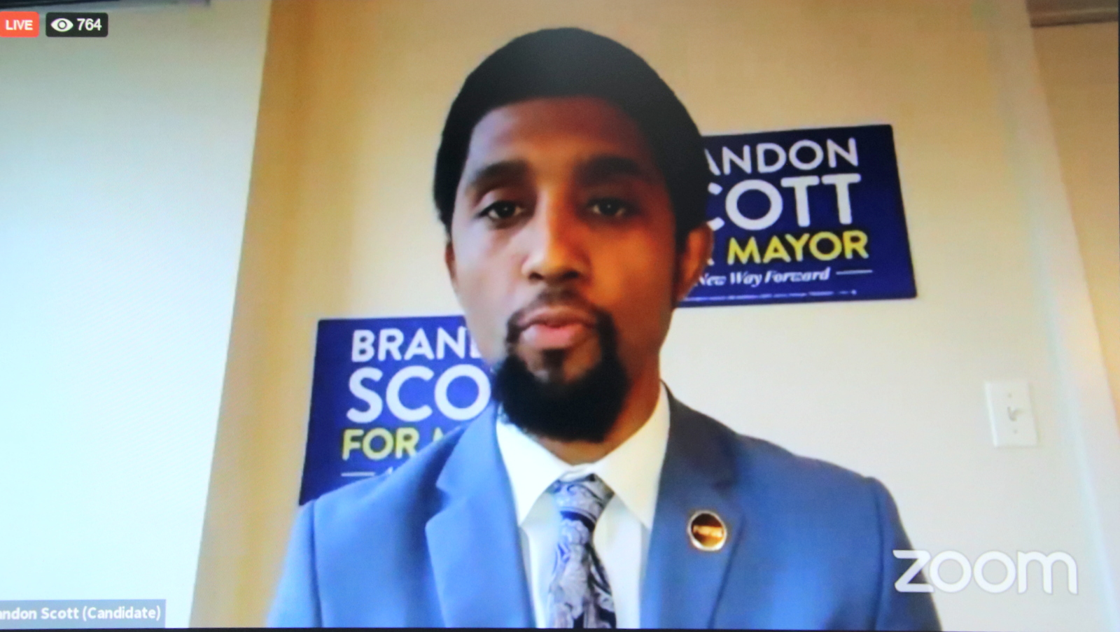City Council President Brandon Scott participates in an online debate for mayoral candidates. (Baltimore NAACP Facebook)