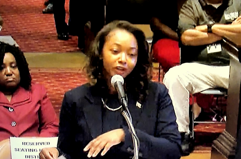 Danielle McCray testifies before the City Council committee that nominated her to succeed Brandon Scott as 2nd District councilwoman. (CharmTV)