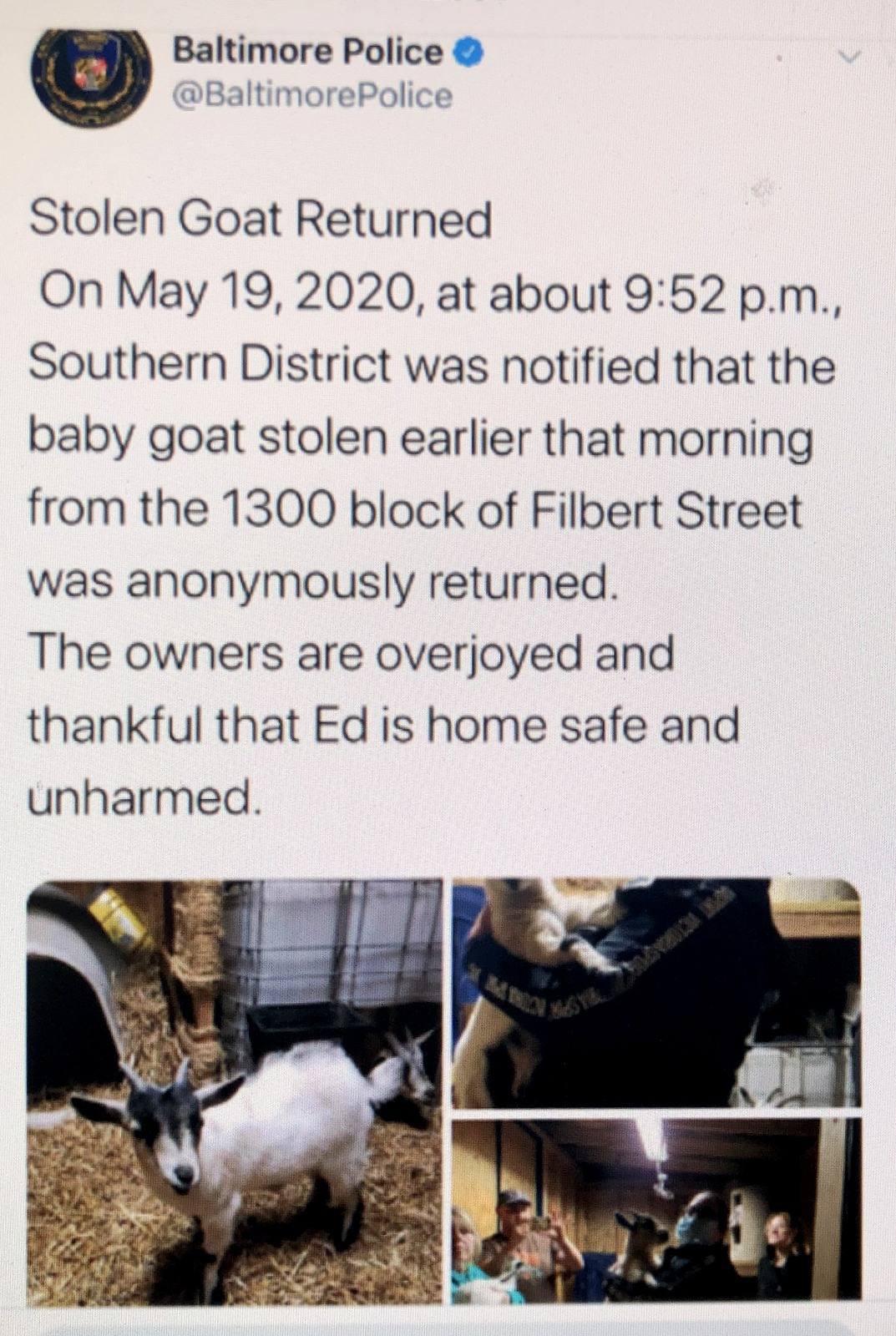 Baltimore Police announce on Twitter they cracked the case of the purloined goat. (@BaltimorePolice)