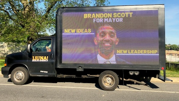 A LiUNA truck parked at Druid Hill Park to promote mayoral candidate Brandon Scott. (Fern Shen)