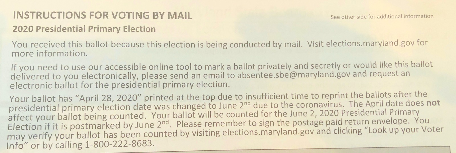 Instructions included with ballots for the 2020 primary advise voters to ignore the incorrect date printed on them. (Maryland State Board of Elections)