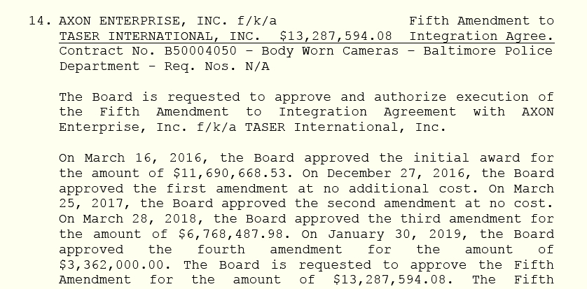 Page 95 of yesterday's Board of Estimates agenda discloses the late price increase for the body cam program.
