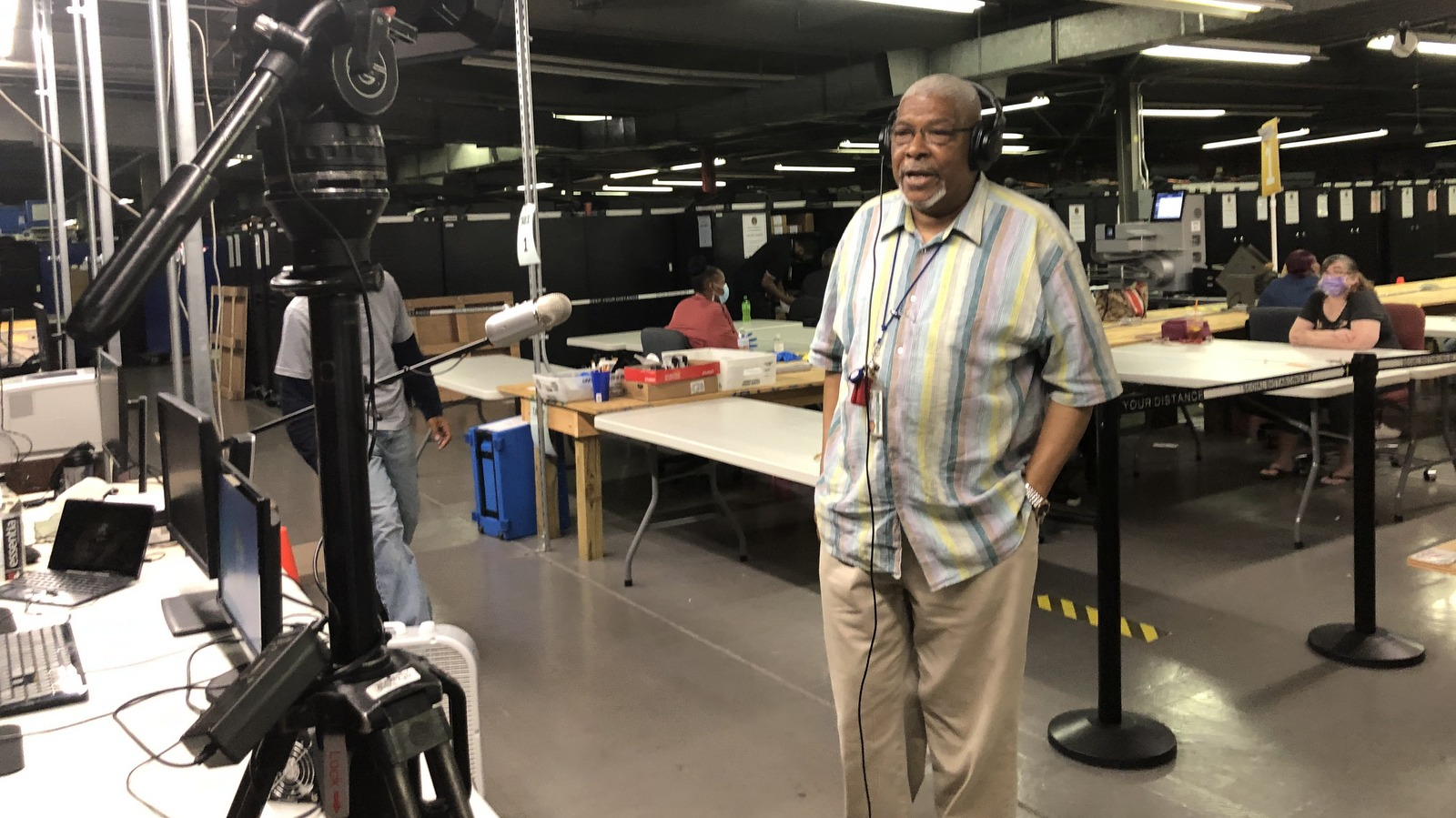 City elections director Armstead Jones discusses at the city's voting machine warehouse. (Fern Shen)