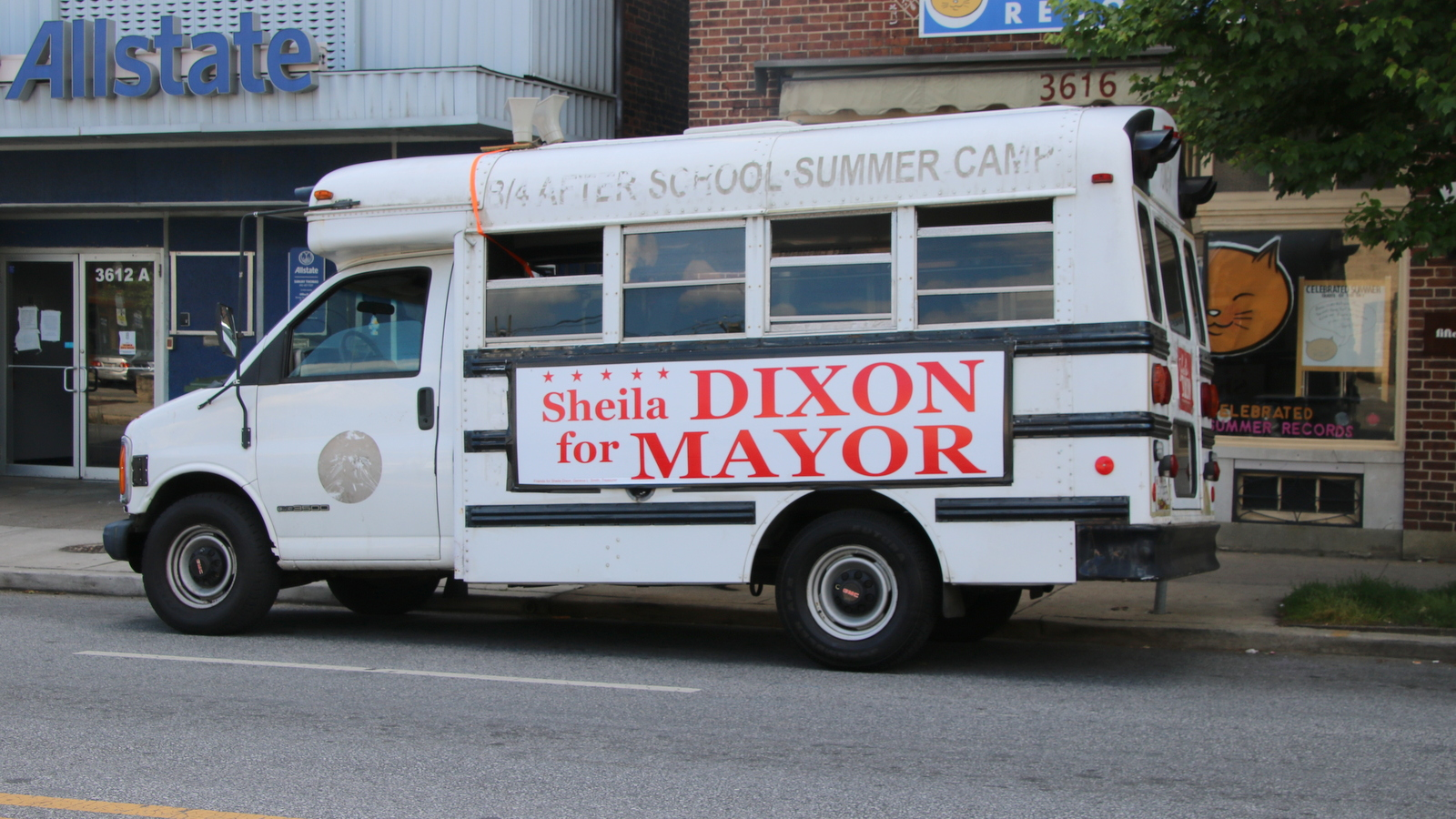 A Dixon bus parked in Hampden. (Fern Shen)