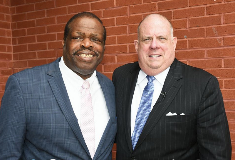 The Langston Hughes Community Center website features an array of state and city politicians with George Mitchell, including Gov. Hogan. (langstonhughescbrc.org)
