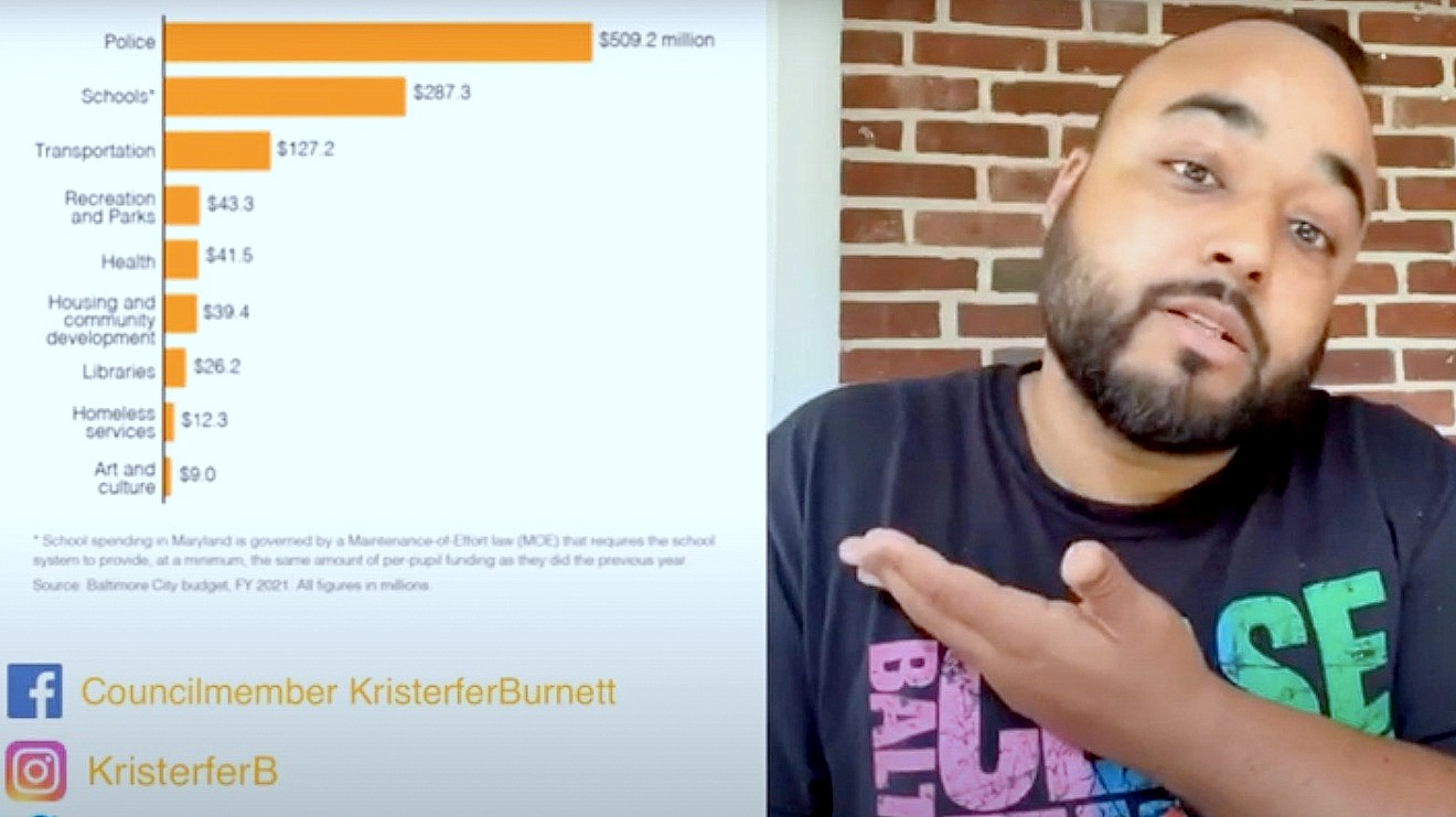 Councilman Kris Burnett says some of the funds going to Baltimore police should be re-allocated to community uses. (Instagram)