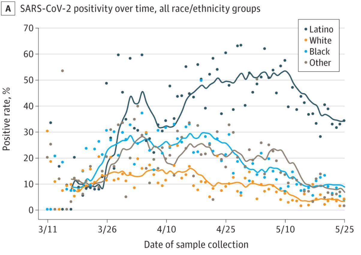 SARS-CoV-2 Positivity Rate by Racial/Ethnic Groups in the Baltimore-Washington, DC Region, March 11 to May 25, 2020. (Diego Martinez study, Johns Hopkins)