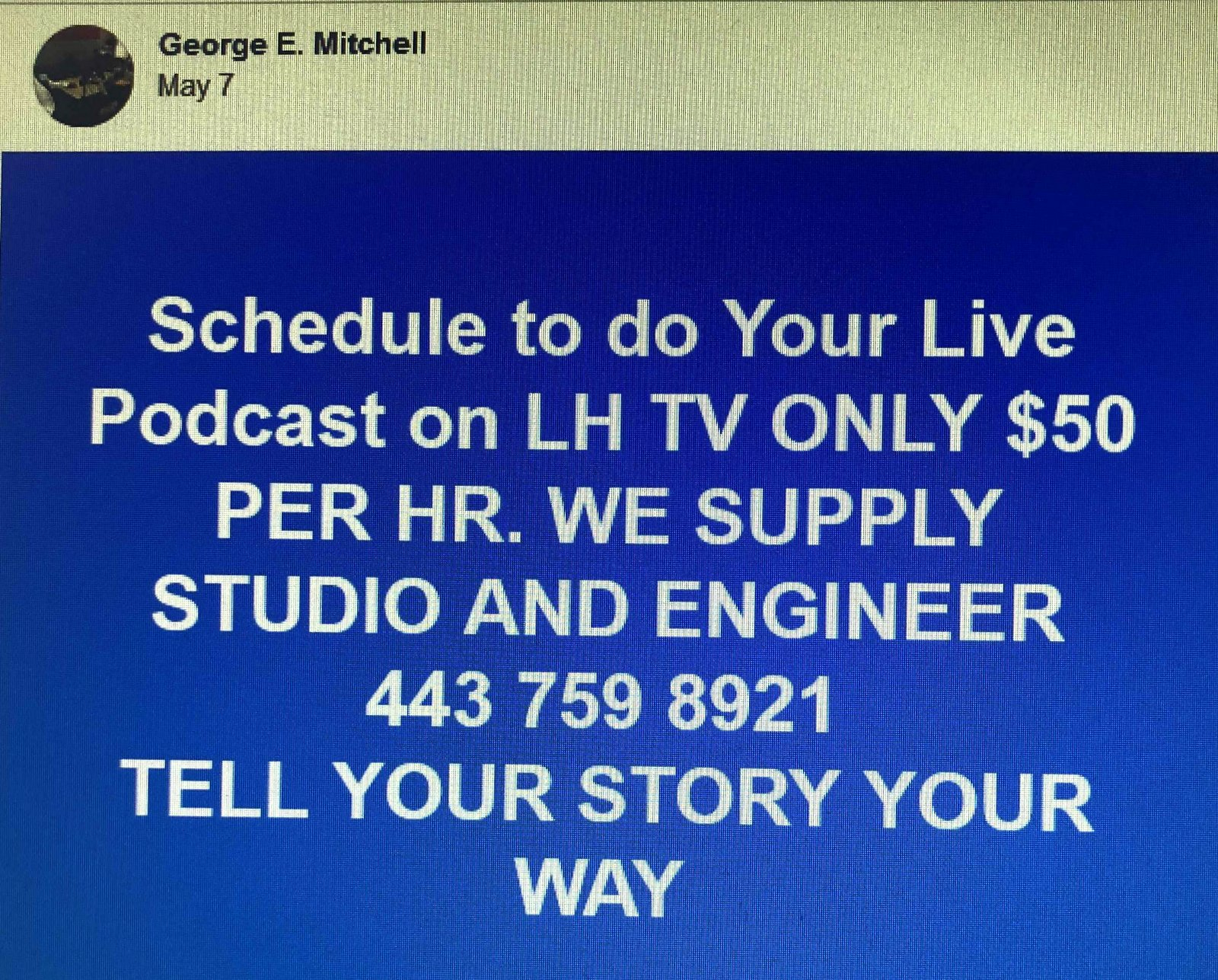 Mitchell offers $50-an-hour podcasts, one of many commercial ventures that he has established in the city-owned building. (Facebook)
