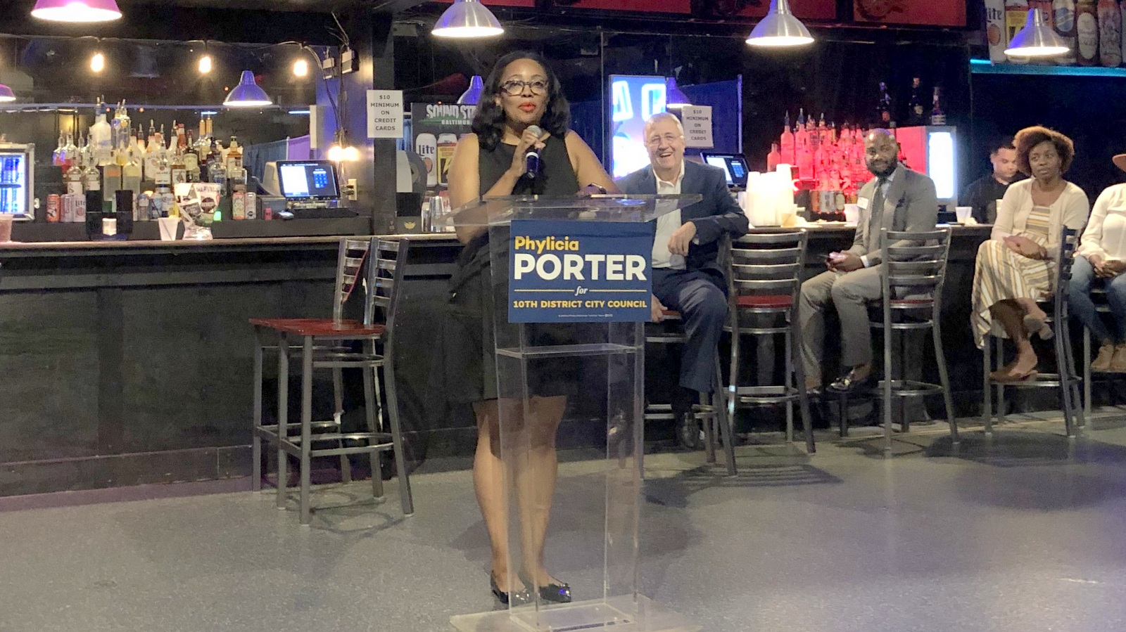 Phylicia Porter at a campaign event, with retiring incumbent Councilman Ed Reisinger behind her. (Ian Round)