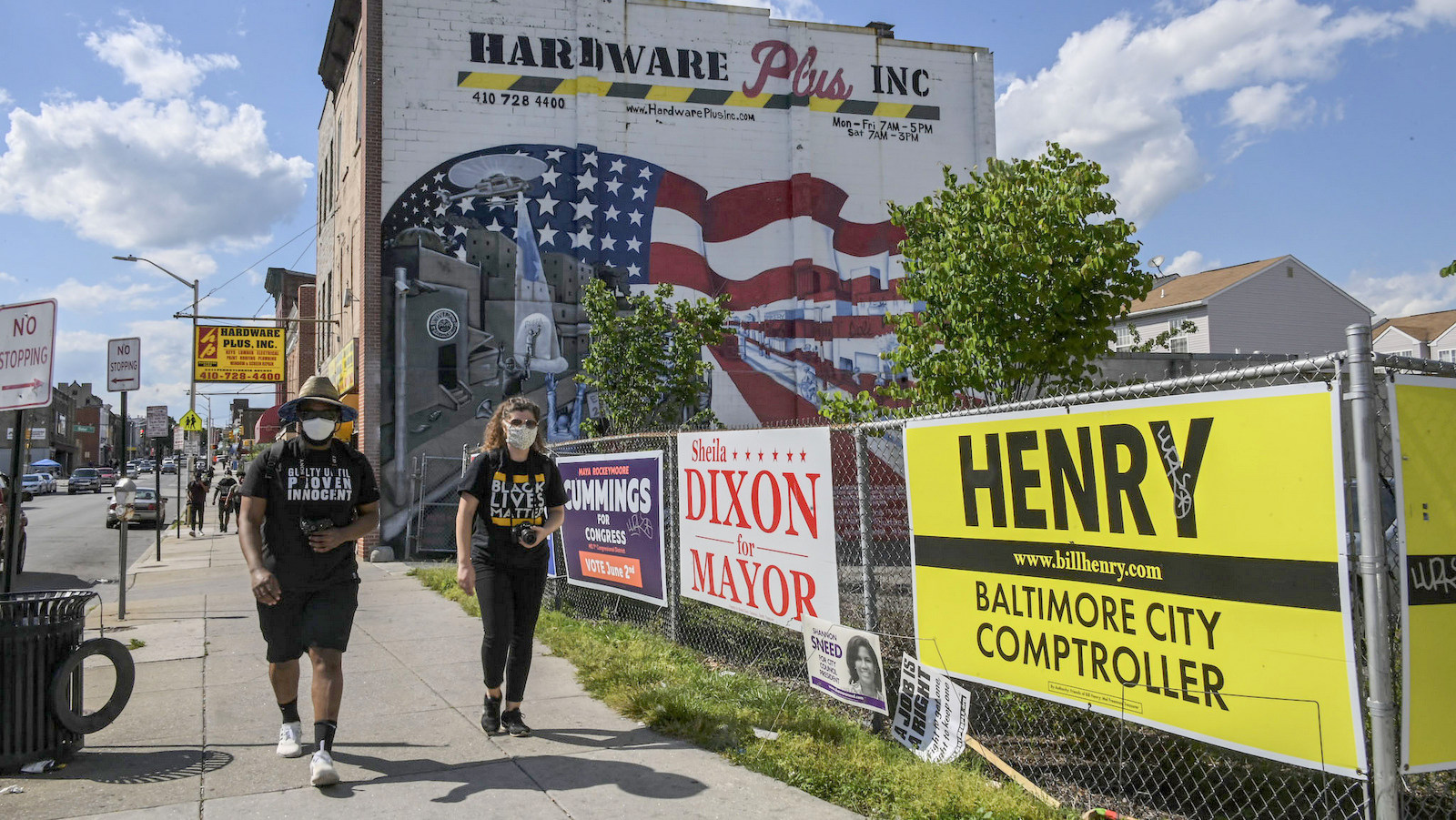 Campaign signs for the 2020 primary in West Baltimore. (J.M. Giordano)