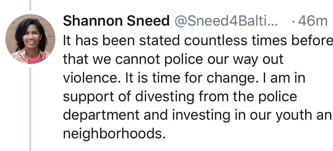 Councilwoman Shannon Sneed called for a shift away from police spending. (@Sneed4Baltimore)