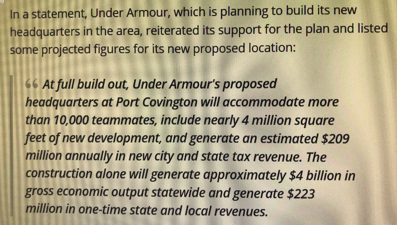 From an Under Armour press release in 2016, big promises for the city and state.