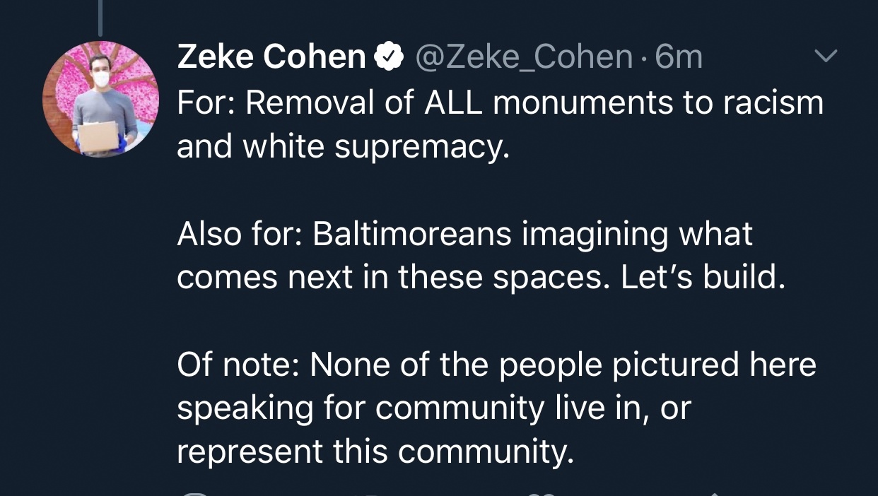 Councilman Zeke Cohen's reply on Twitter, asked if he supports the removal of the Columbus statue near the Inner Harbor.