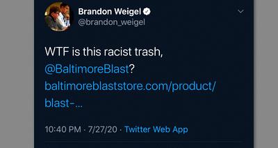 Baltimore Blast Brandon Weigel tweet